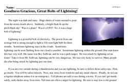 Print <i>Goodness Gracious, Great Bolts of Lightning!</i> reading comprehension.