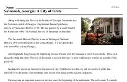 Print <i>Savannah, Georgia: A City of Firsts</i> reading comprehension.