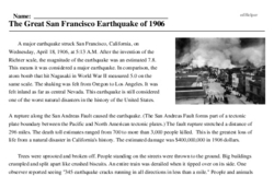 Print <i>The Great San Francisco Earthquake of 1906</i> reading comprehension.