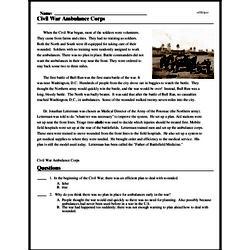 Print <i>Civil War Ambulance Corps</i> reading comprehension.