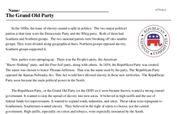 Print <i>The Grand Old Party</i> reading comprehension.