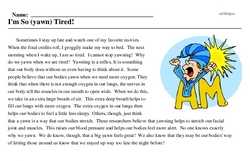 Print <i>I'm So (yawn) Tired!</i> reading comprehension.