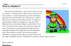 Print <i>What Is a Rainbow?</i> reading comprehension.