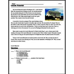 Print <i>Lincoln Memorial</i> reading comprehension.