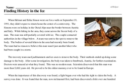 Print <i>Finding History in the Ice</i> reading comprehension.