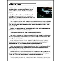 Print <i>Hybrid Cars Update</i> reading comprehension.