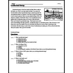 Print <i>Geothermal Energy</i> reading comprehension.