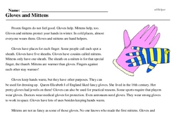 Print <i>Gloves and Mittens</i> reading comprehension.