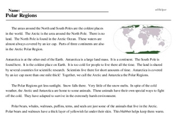 Print <i>Polar Regions</i> reading comprehension.