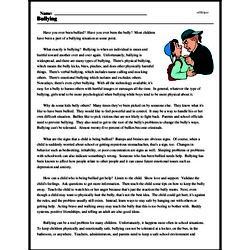 Print <i>Bullying</i> reading comprehension.