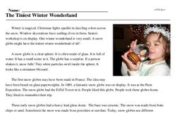 Print <i>The Tiniest Winter Wonderland</i> reading comprehension.