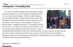 Print <i>Anticipation - Groundhog Day</i> reading comprehension.