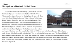 Print <i>Recognition - Baseball Hall of Fame</i> reading comprehension.