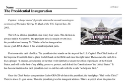 Print <i>The Presidential Inauguration</i> reading comprehension.