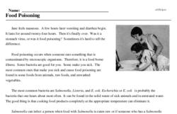 Print <i>Food Poisoning</i> reading comprehension.