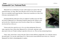 Print <i>Mammoth Cave National Park</i> reading comprehension.