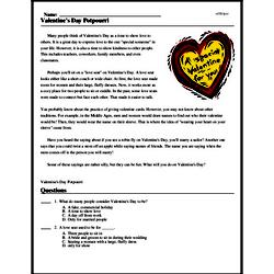 Print <i>Valentine's Day Potpourri</i> reading comprehension.