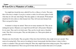 Print <i>If You Give a Manatee a Cookie...</i> reading comprehension.
