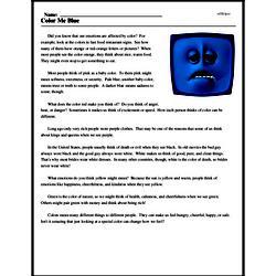 Print <i>Color Me Blue</i> reading comprehension.