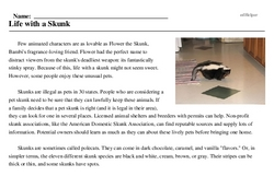 Print <i>Life with a Skunk</i> reading comprehension.