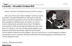 Print <i>Curiosity - Alexander Graham Bell</i> reading comprehension.