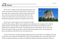 Print <i>Devils Tower</i> reading comprehension.