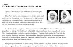 Print <i>Perseverance - The Race to the North Pole</i> reading comprehension.
