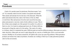 Print <i>Petroleum</i> reading comprehension.
