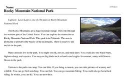 Print <i>Rocky Mountain National Park</i> reading comprehension.