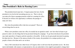 Print <i>The President's Role in Passing Laws</i> reading comprehension.