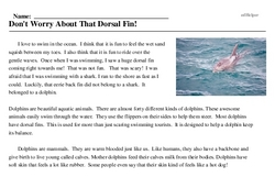 Print <i>Don't Worry About That Dorsal Fin!</i> reading comprehension.