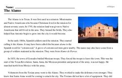 Print <i>The Alamo</i> reading comprehension.
