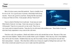 Print <i>Tuna</i> reading comprehension.