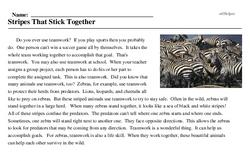 Print <i>Stripes That Stick Together</i> reading comprehension.