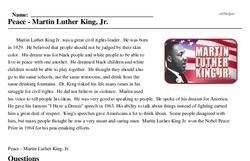 Print <i>Peace - Martin Luther King, Jr.</i> reading comprehension.