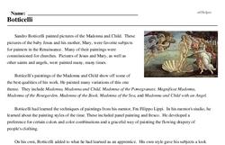 Print <i>Botticelli</i> reading comprehension.