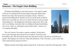 Print <i>Structure - The Empire State Building</i> reading comprehension.