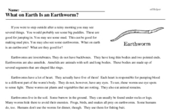 Print <i>What on Earth Is an Earthworm?</i> reading comprehension.