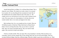 Print <i>Acadia National Park</i> reading comprehension.