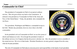 Print <i>Commander-in-Chief</i> reading comprehension.