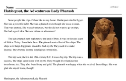 Print <i>Hatshepsut, the Adventurous Lady Pharaoh</i> reading comprehension.