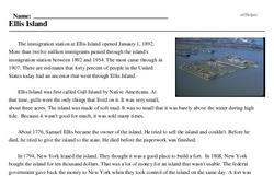 Print <i>Ellis Island</i> reading comprehension.