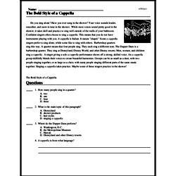 Print <i>The Bold Style of <i>a Cappella </i></i> reading comprehension.