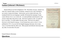 Print <i>Samuel Johnson's Dictionary</i> reading comprehension.