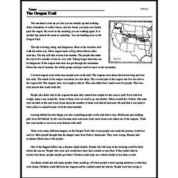 Print <i>The Oregon Trail</i> reading comprehension.