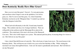Print <i>Does Kentucky Really Have Blue Grass?</i> reading comprehension.