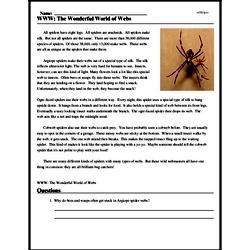 Print <i>WWW: The Wonderful World of Webs</i> reading comprehension.