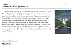 Print <i>Alternative Energy Sources</i> reading comprehension.