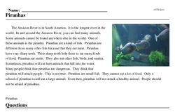 Print <i>Piranhas</i> reading comprehension.