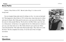 Print <i>Rosa Parks</i> reading comprehension.